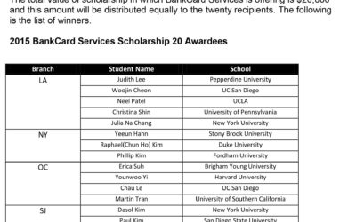 2015 BANKCARD SERVICES SCHOLARSHIP AWARDS WINNERS